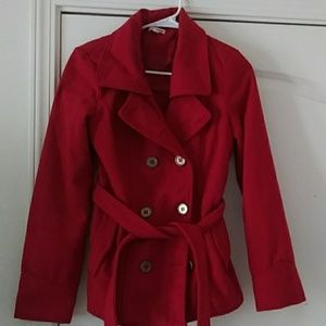 Used red doubke breasted coat